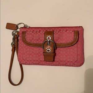 Coach pink fabric and leather wristlet